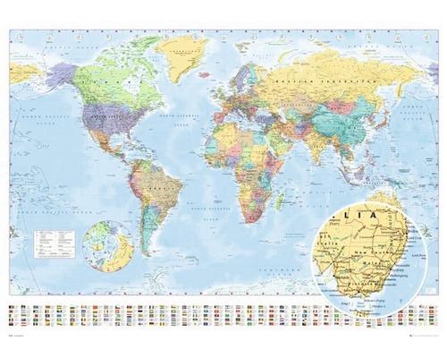 Panneau décoratif World Map 98x136 cm