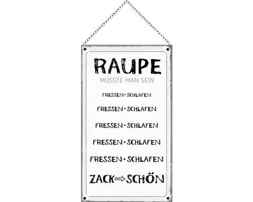 Panneau en bois avec chaîne Raupe 23x13 cm-0