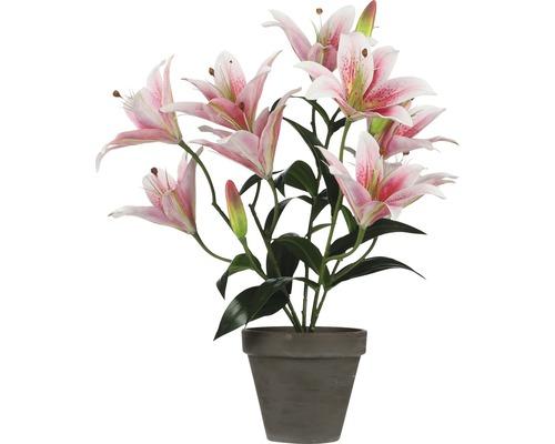 Plante artificielle lys tigré Ø13,5cm h47cm rose