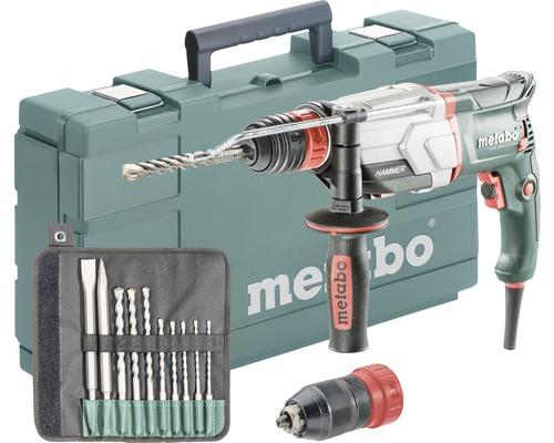 Set de marteau perforateur Metabo UHE 2660-2 Quick avec mandrin interchangeable et set de foret/burin SDS-plus 10pièces