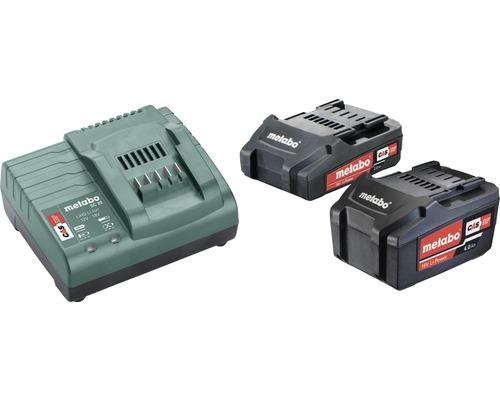 Set de batteries Metabo 18V Li-Ion (2,0/4,0 Ah) batteries + chargeur