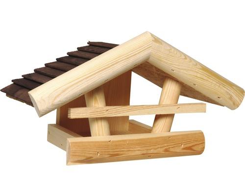 Abri-mangeoire en bois pour oiseaux à suspendre au mur 20x36x20cm