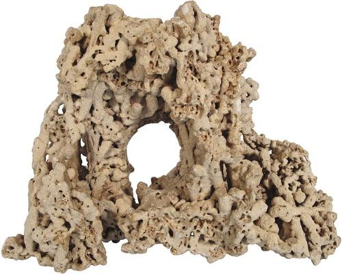 Décoration d'aquarium pierre spaghetti avec trou 13x6x12cm