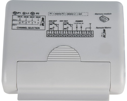 Récepteur radio externe GAH Alberts 2canaux pour portail coulissant électrique Mosaïque fréquence 433MHz