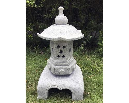 Lanterne aspect granit H 60 cm, gris