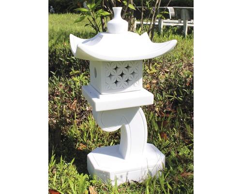Lanterne aspect granit H 78 cm, blanc