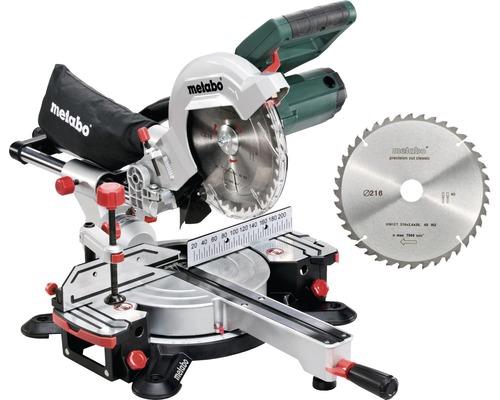 Scie à traction et à onglet radiale Metabo KGS 216 M avec 2x lame de scie Ø 216 x 30 mm (40Z)