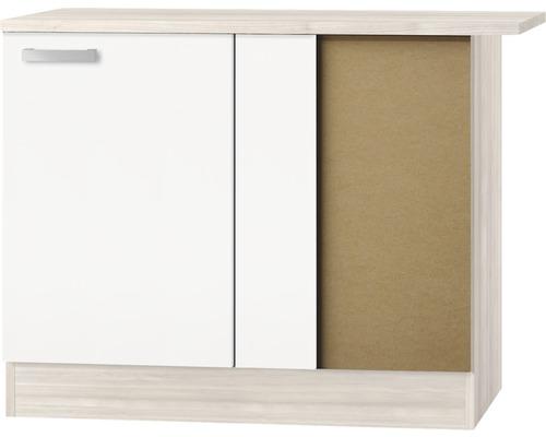 Meuble bas d''angle Optifit Genf largeur 100 cm blanc brillant