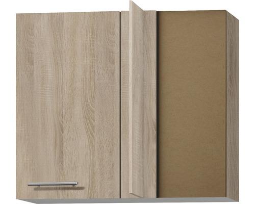 Armoire suspendue d''angle Optifit Lasse largeur 85 cm imitation chêne clair brut de sciage
