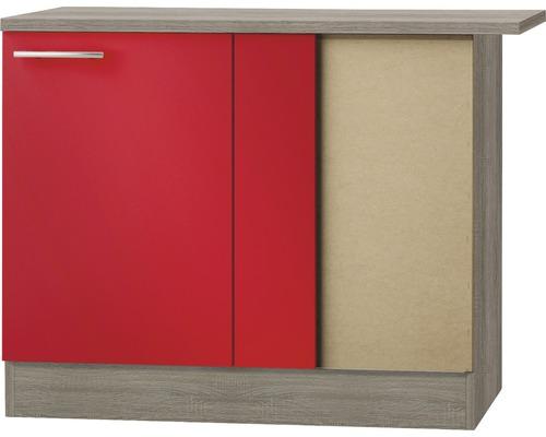 Meuble bas d''angle Optifit Imola largeur 100 cm rouge