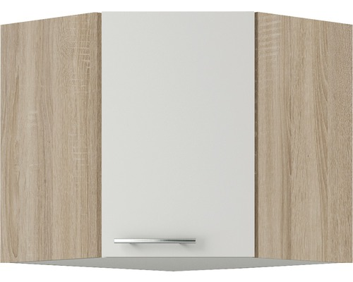 Armoire suspendue d''angle Optifit Dakar largeur 60 cm blanc brillant