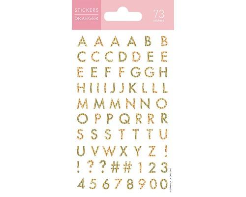 Min-autocollants Alphabet lettres or 73 pièces