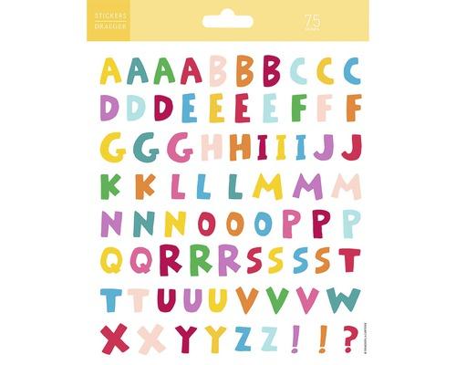 Mini-autocollants alphabet multicolore