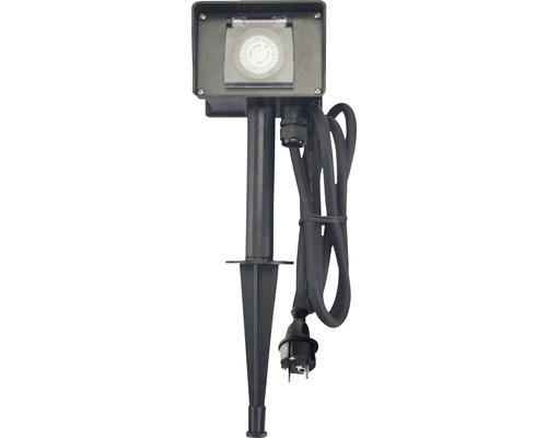 Prise pour jardin IP44 avec piquet de terre avec minuterie + 2 prises de courant avec mise à la terre câble 1,5 m noir