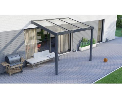 Toiture pour terrasse Legend avec polycarbonate transparent 300x200 cm anthracite