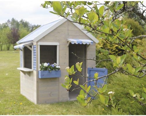 Cabane de jeux Delfin en bois 120x120x155 cm nature-bleu-blanc