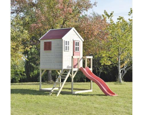 Cabane de jeux tigre en bois avec balançoire et toboggan rouge