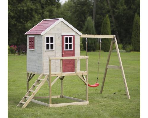 Cabane de jeux zèbre en bois avec véranda et balançoire