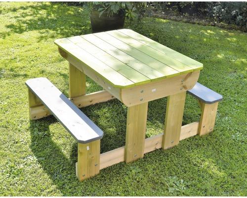 Table de jeu sable et eau bois avec couvercle et bancs 100x80x53cm vert naturel