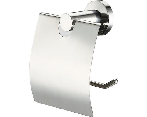 Support de papier toilette avec couvercle basano Ravenna acier inoxydable mat