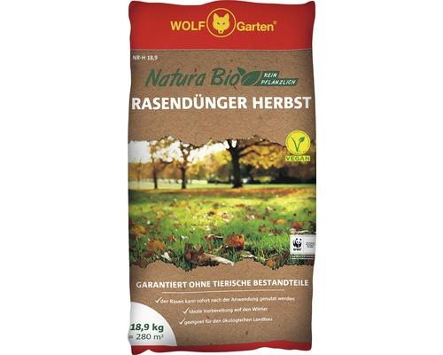 Engrais pour gazon WOLF Natura Bio d''automne purement végétal, 100% ingrédients naturel 18,9 kg 280m²