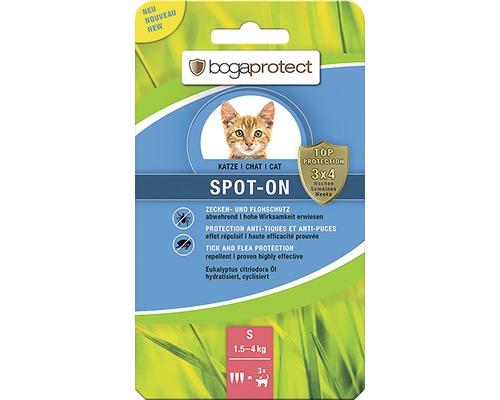 Protection contre les tiques et les puces bogaprotect SPOT-ON pour chats de 1,5 à 4kg 3x0,7ml