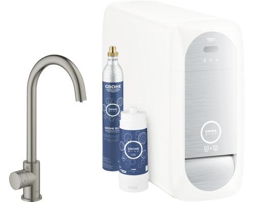 Kit de démarrage robinet de lave-mains GROHE Blue Home Mono hard graphite brossé 31498AL1