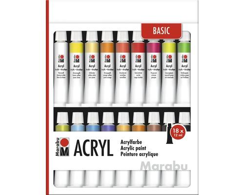 Peintures acryliques Marabu 18x 12 ml