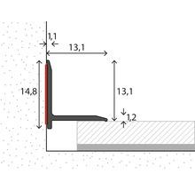 Profilé de raccordement mural aluminium argenté autocollant 13,1 x 13,1 x 2500 mm-thumb-1
