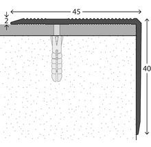 Nez de marche aluminium acier inoxydable mat perforé 45 x 40 x 1000 mm-thumb-1