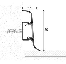 Plinthe de serrage avec guidage de câble gris pierre 50 mm x 250 cm-thumb-1