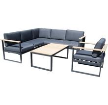 Gartenmöbel-Set Alu-Holz 6-Sitzer 4-teilig anthrazit inkl. Sitzkissen-thumb-0