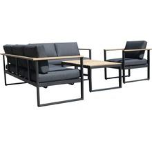Gartenmöbel-Set Alu-Holz 6-Sitzer 4-teilig anthrazit inkl. Sitzkissen-thumb-1