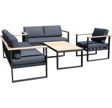 Gartenmöbel-Set Alu-Holz 6-Sitzer 4-teilig anthrazit inkl. Sitzkissen-thumb-2