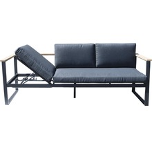 Gartenmöbel-Set Alu-Holz 6-Sitzer 4-teilig anthrazit inkl. Sitzkissen-thumb-5
