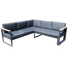 Gartenmöbel-Set Alu-Holz 6-Sitzer 4-teilig anthrazit inkl. Sitzkissen-thumb-6