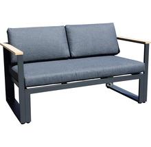 Gartenmöbel-Set Alu-Holz 6-Sitzer 4-teilig anthrazit inkl. Sitzkissen-thumb-12