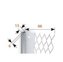 Profilé de finition à crépir en acier inoxydable 13mm, longueur: 2,50m, hauteur: 66mm, lot de 25pièces-thumb-1