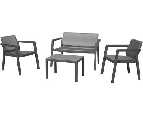 Salon de jardin Keter Emily en plastique 4 places 4 pièces gris graphite
