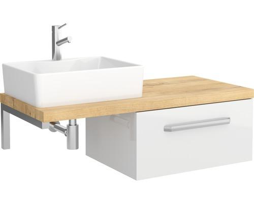 Set de meubles de salle de bains Ibiza 46x100cm blanc haute brillance avec 1 tiroir sans vasque-0