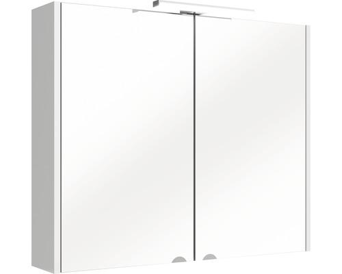 Armoire salle de bains à miroir 65x80cm blanc avec LED 8 watts et 2portes