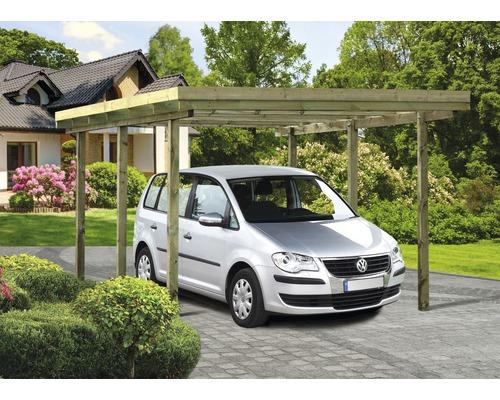 Carport pour un véhicule, toit plat, 300x500 cm, traité en autoclave par imprégnation