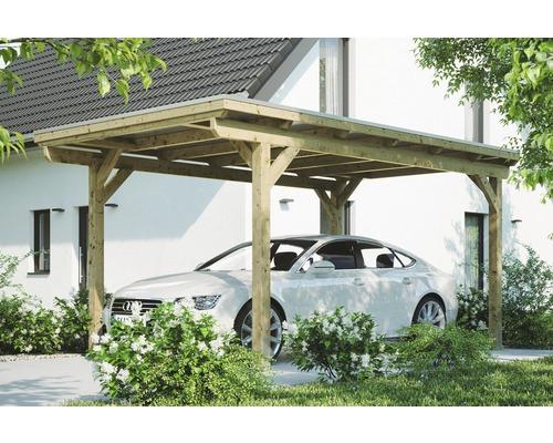 Carport simple Konsta panneaux de toiture en aluminium ancrage H comprise 304x500 cm naturel