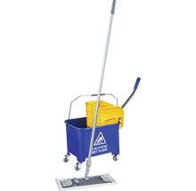 Kit de nettoyage de sol professionnel avec balai à franges, manche, seau 2x15 L, roulettes, presse, housse-serpillère Unger-thumb-0