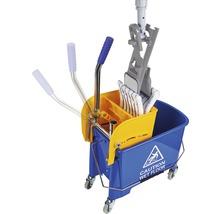 Kit de nettoyage de sol professionnel avec balai à franges, manche, seau 2x15 L, roulettes, presse, housse-serpillère Unger-thumb-1