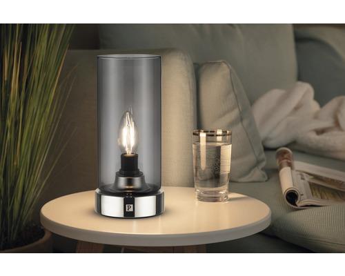 Lampe de table 1 ampoule Pinja chrome/verre fumé HxØ 244/110mm