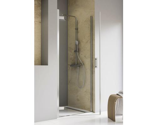 Porte pivotante dans une niche Schulte Toura Plus 80 cm butée à gauche verre transparent couleur du profilé chrome