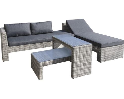 Gartenmöbel-Set Chicago 6-Sitzer 4-teilig Polyrattan grau inkl. Sitzkissen