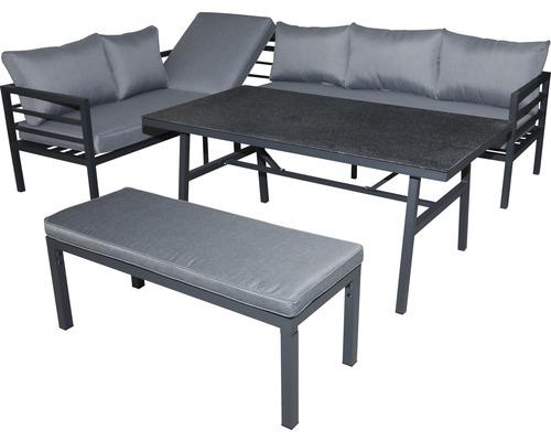 Ensemble de meubles de jardin Garden Place alu 6 sièges 4 pces avec table 150 x 75 x 65 cm avec plaque en verre de sécurité Spray-Stone 5 mm et galettes de chaise aluminium anthracite