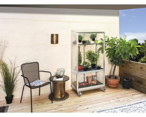 Serre pour balcon Vitavia Polis 350 verre de sécurité trempé avec fondation à roulettes 81x43cm alu